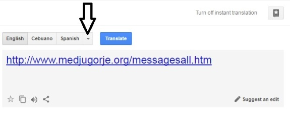 Google Translator - Our Lady of Medjugorje - Step Two