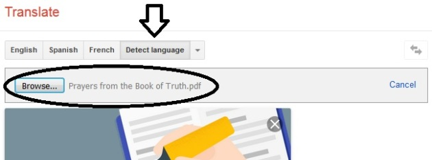 Google Translator - Translate A Document - Step Three