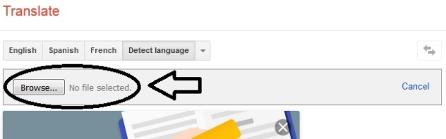 Google Translator - Translate A Document - Step Two